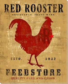 Farmhouse Rooster Bird Red Rooster Wrapped Canvas Giclee Print