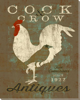 Farmhouse Rooster Cock & Crow Wrapped Canvas Giclee Print Wall Art