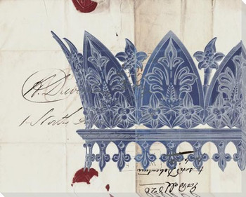 Crown Blue on Cream Wrapped Canvas Giclee Print Wall Art