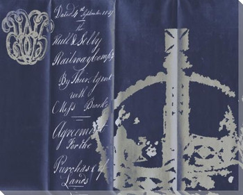 Crown Script on Blue Wrapped Canvas Giclee Print Wall Art