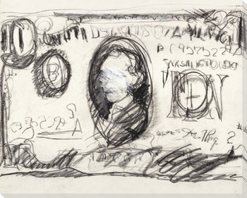Abstract Ten Dollar Bill Drawing Wrapped Canvas Giclee Print