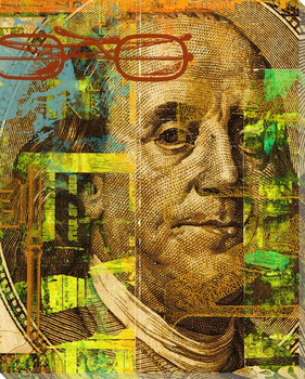 Benjamin Franklin Hundred Dollar Bill Wrapped Canvas Giclee Print