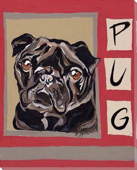 Pug Dog Wrapped Canvas Giclee Print Wall Art