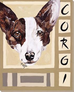Corgi Dog Wrapped Canvas Giclee Print Wall Art