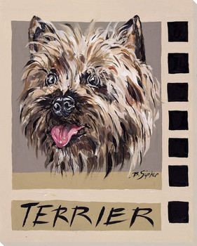Terrier Dog Wrapped Canvas Giclee Print Wall Art