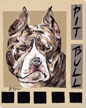 Pit Bull Dog Wrapped Canvas Giclee Print Wall Art