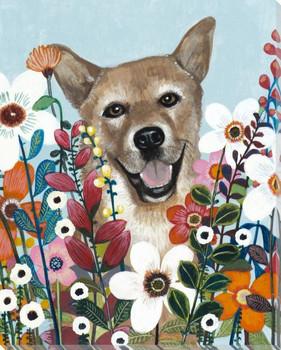 Flower Dog II Wrapped Canvas Giclee Print Wall Art