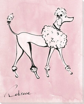 B&W Poodle Dog Wrapped Canvas Giclee Print Wall Art