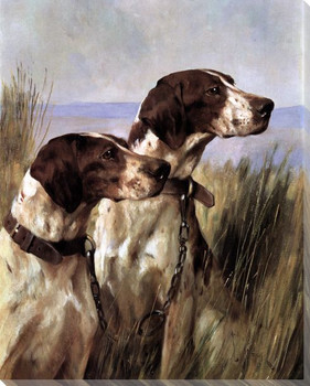 Two Pointer Dogs Wrapped Canvas Giclee Print Wall Art