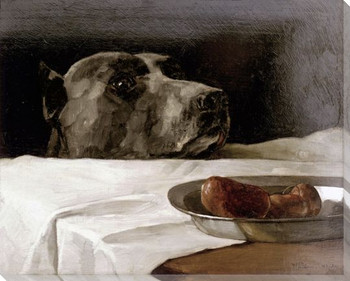 Great Dane Dog with Sausage Bowl Wrapped Canvas Giclee Print