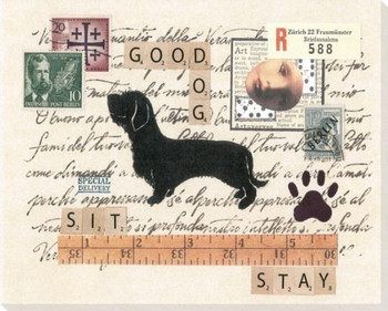 Wire-haired Dachshund Dog Wrapped Canvas Giclee Print Wall Art
