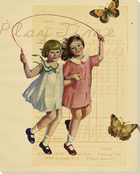 Girls Play Time Wrapped Canvas Giclee Print Wall Art