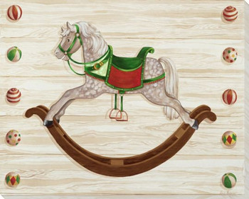 Rocking Horse on Rails Wrapped Canvas Giclee Print Wall Art