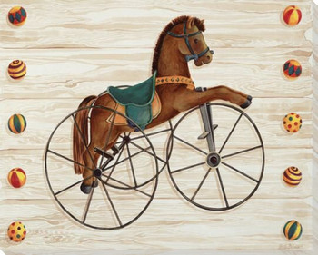 Rocking Horse Tricycle Wrapped Canvas Giclee Print Wall Art