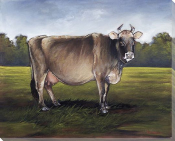 Brown Cow Wrapped Canvas Giclee Print Wall Art
