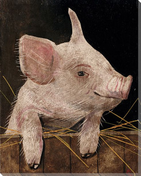 Pig Posing 1 Wrapped Canvas Giclee Print Wall Art