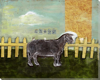 Sheep Collage Wrapped Canvas Giclee Print Wall Art