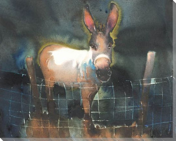 Christmas Donkey Wrapped Canvas Giclee Print Wall Art