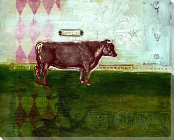 Bovine Bull Collage Wrapped Canvas Giclee Print Wall Art
