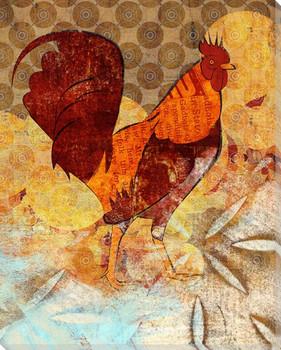Chicken Bird Dance 1 Wrapped Canvas Giclee Print Wall Art