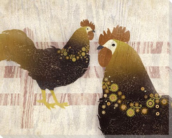 Adorned Chicken Birds 3 Wrapped Canvas Giclee Print Wall Art