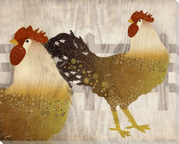 Adorned Chicken Birds 4 Wrapped Canvas Giclee Print Wall Art
