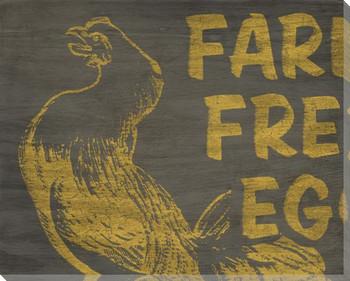Chicken Bird Market Sign Wrapped Canvas Giclee Print Wall Art
