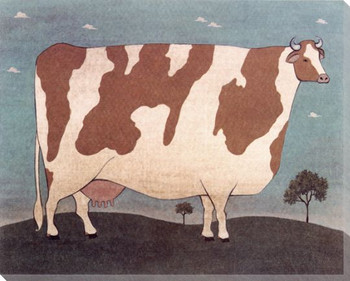 Americana Cow Brown & White 2 Wrapped Canvas Giclee Print Wall Art