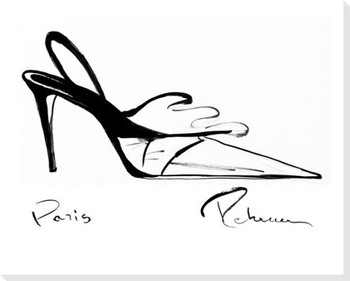Black & White Shoe Wrapped Canvas Giclee Print Wall Art