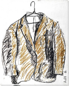 Sketched Yellow Suit Wrapped Canvas Giclee Print Wall Art