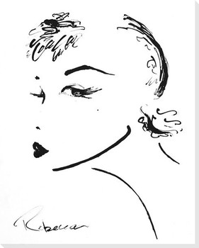 Deco Girl Facing Left Wrapped Canvas Giclee Print Wall Art