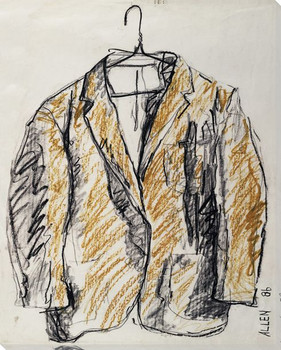 Sketched Yellow Suit on Hanger Wrapped Canvas Giclee Print