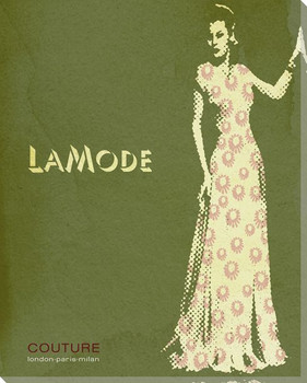 La Mode Woman in Dress Wrapped Canvas Giclee Print Wall Art