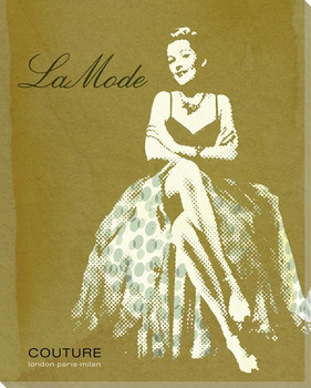 La Mode Woman in Skirt Wrapped Canvas Giclee Print Wall Art