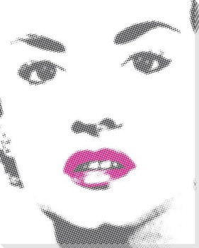 Woman with Bright Red Lip Gloss Wrapped Canvas Giclee Print