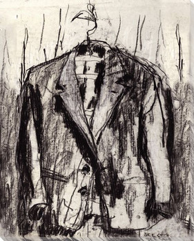 Sketched Suit on Hanger Wrapped Canvas Giclee Print Wall Art