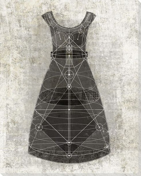 Diagrammatic Black Dress Wrapped Canvas Giclee Print Wall Art