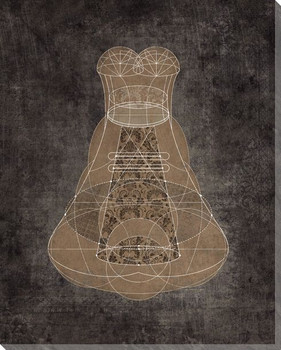 Diagrammatic Brown Dress Wrapped Canvas Giclee Print Wall Art