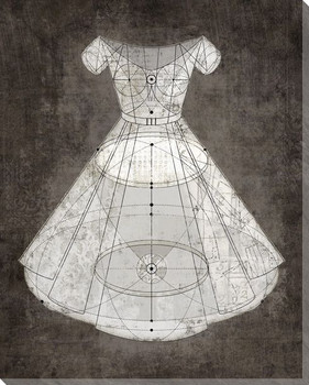Diagrammatic White Dress Wrapped Canvas Giclee Print Wall Art