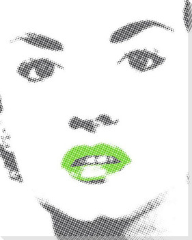 Woman with Bright Green Lip Gloss Wrapped Canvas Giclee Print
