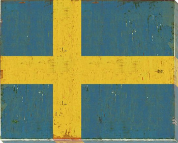 Sweden: Swedish Flag Wrapped Canvas Giclee Print Wall Art