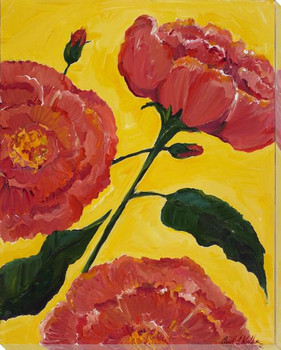 Peony Flowers Wrapped Canvas Giclee Print Wall Art