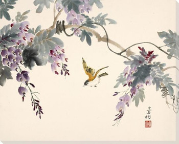 Finch Bird and Flowers Wrapped Canvas Giclee Print Wall Art