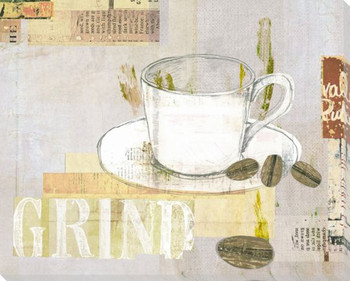 Cup of Grind Wrapped Canvas Giclee Print Wall Art