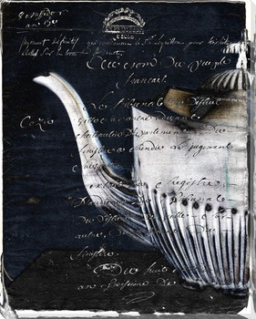 Teapot Left Black and White Wrapped Canvas Giclee Print Wall Art