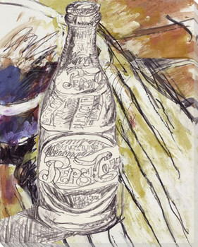 Pepsi Bottle Black and White Wrapped Canvas Giclee Print Wall Art