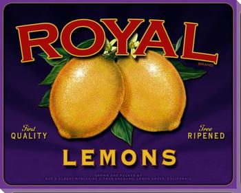 Royal Lemons Wrapped Canvas Giclee Print Wall Art
