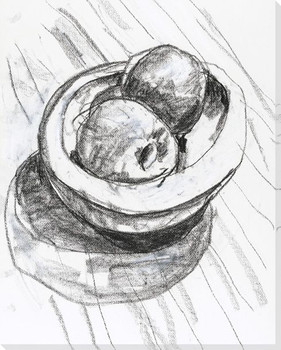 Bowl of Fruit Sketch Wrapped Canvas Giclee Print Wall Art