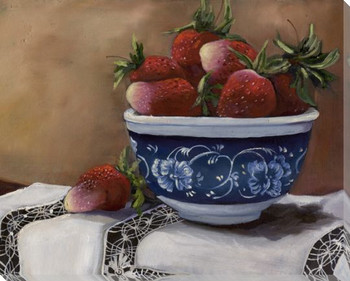 Delft III Bowl of Strawberries Wrapped Canvas Giclee Print