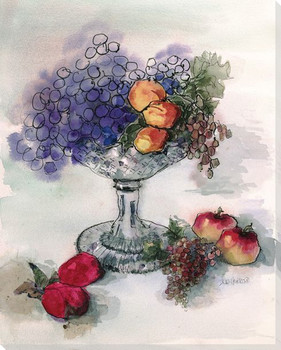 Crystal Bowl with Fruit Wrapped Canvas Giclee Print Wall Art